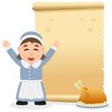 Parchemin de thanksgiving avec la femme au foyer Photo stock