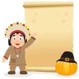 Parchemin de thanksgiving avec le garçon indigène Image stock