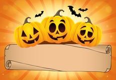 Parchemin et potirons larges 1 de Halloween Image libre de droits