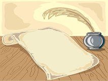 Parchment. Hand drawn illustration of old parchment with ink well and quill pen on a rustic table Royalty Free Stock Photography