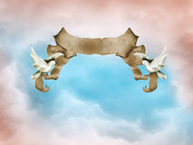 Parchment. With two doves in the sky Royalty Free Stock Photos