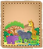 Parchment with African animals 3 Stock Photography