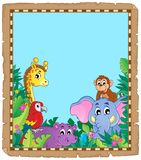Parchment with animals in jungle vector illustration