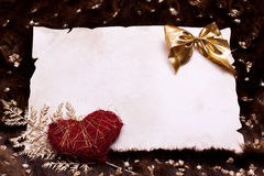 Parchment art fur with heart and gold nuggets Stock Photography