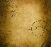 Parchment background dark swirls. An old parchment paper background with big dark brown swirls vector illustration