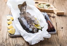 Parchment baked rainbow trout Royalty Free Stock Photography