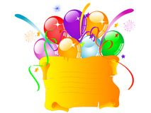 Parchment and balloons Royalty Free Stock Photos