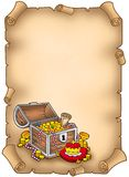 Parchment with big treasure chest Royalty Free Stock Photography