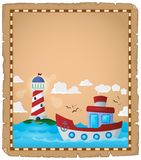 Parchment with boat and lighthouse Royalty Free Stock Photo