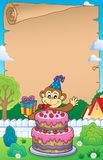 Parchment with cake and party monkey. Eps10 vector illustration Royalty Free Stock Photo