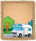 Parchment with camping van theme 1 Royalty Free Stock Images
