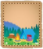 Parchment with campsite theme 1 Stock Photo