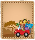Parchment with car and traveller 2. Eps10 vector illustration royalty free illustration