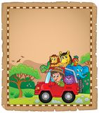 Parchment with car and traveller 3. Eps10 vector illustration vector illustration