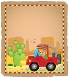 Parchment with car and traveller 4 Stock Images