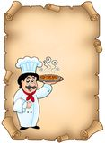 Parchment with chef holding pizza Stock Photos