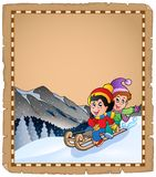 Parchment with children on sledge Royalty Free Stock Images