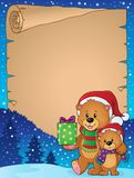 Parchment with Christmas bears theme 1 Royalty Free Stock Photography