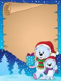 Parchment with Christmas bears theme 2 Royalty Free Stock Photo