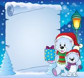 Parchment with Christmas bears theme 4 Royalty Free Stock Images