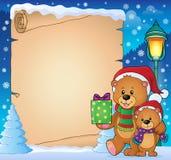 Parchment with Christmas bears theme 3 Stock Photos