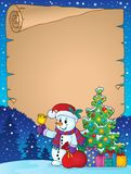 Parchment with Christmas snowman theme 1 Royalty Free Stock Image
