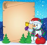 Parchment with Christmas snowman theme 2 Stock Photo