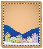 Parchment with Christmas town theme 1 Stock Images