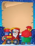 Parchment with Christmas train theme 1 Royalty Free Stock Photography