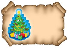 Parchment with Christmas tree Stock Images