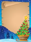 Parchment with Christmas tree on sledge Royalty Free Stock Photo
