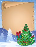 Parchment with Christmas tree topic 1 Stock Image