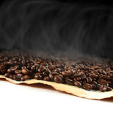 Parchment with coffee beans Stock Image
