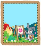 Parchment with Easter bunny painter vector illustration