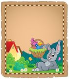 Parchment with Easter bunny topic 2 Royalty Free Stock Photo