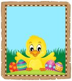 Parchment with Easter chicken and eggs Royalty Free Stock Images