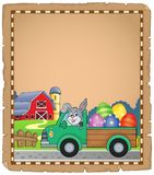 Parchment with Easter truck near farm Stock Image