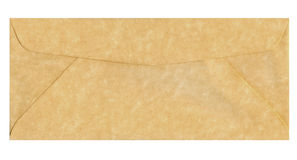 Parchment envelope. Backside of parchment envelope with closed flap royalty free stock photos