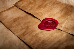 Parchment envelope sealed with red wax Royalty Free Stock Images