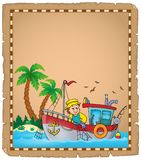 Parchment with fishing boat theme 3 Stock Photo