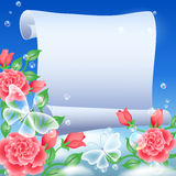 Parchment and flowers Royalty Free Stock Photos