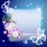 Parchment with flowers and butterfliers Royalty Free Stock Photos