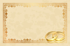 Parchment frame with gold rings Stock Photo