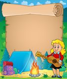 Parchment with girl guitarist in camp 1 Royalty Free Stock Photos