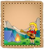 Parchment with girl guitarist in camp 2. Eps10 vector illustration Stock Photos