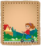 Parchment with girl on push scooter. Eps10 vector illustration Royalty Free Stock Photo