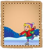 Parchment with girl skating on ice Stock Photography
