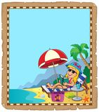 Parchment with girl on sunlounger Stock Image