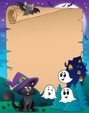 Parchment with Halloween cat Royalty Free Stock Photography