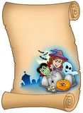 Parchment with Halloween characters Stock Image